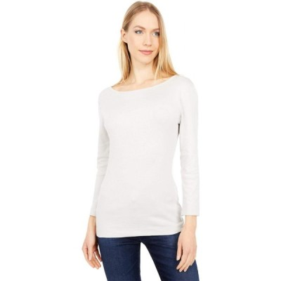 スリードッツ Three Dots レディース 長袖Tシャツ トップス 100% Cotton Heritage Knit 3/4 Sleeve British Tee Silver/Gray