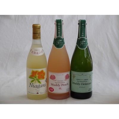 国産ワイン3本セット 完熟ナイアガラ(ナイヤガラ) マディピーチ(桃) マディデラウェアスパークリングワイン(デラウェア)  (