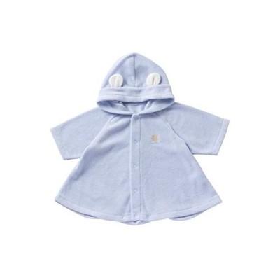 crem de coco フリース 赤ちゃんコート ベビー コート [防寒/軽量] 股スナップ付き 2Way (ブルー 50-80cm)