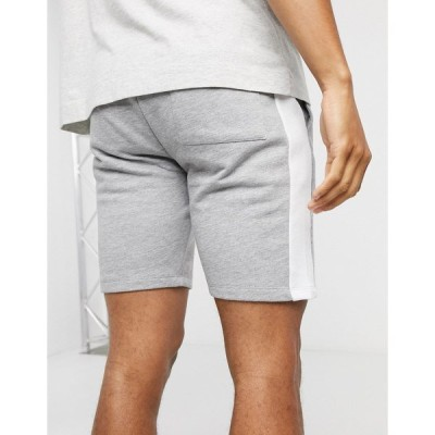 エイソス メンズ カジュアルパンツ ボトムス ASOS DESIGN jersey skinny shorts with side stripe in gray marl Gray marl