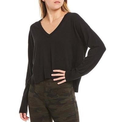 サンクチュアリー レディース Tシャツ トップス Essential Knit V-Neck Long Sleeve Lounge Top