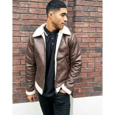 オンリーアンドサンズ メンズ ジャケット&ブルゾン アウター Only & Sons aviator jacket in brown Chicory coffee
