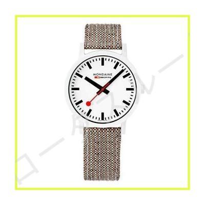 Mondaine Essence Quartz White Dial Brown Textile Strap Watch MS1.41110.LG 並行輸入品