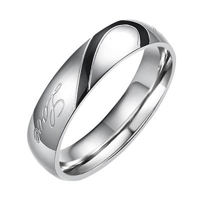 Flongo ステンレス指輪 ペア メンズリング Love&ハート モチーフ 刻印入 シンプル プレゼント 記念日 ブラック シルバー(銀)