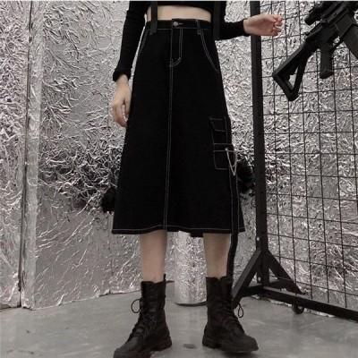 韓国 原宿系 レディースファッション スタイル ハイウエスト ロングスカート カラフル 奇抜 青文字系 ボトムス