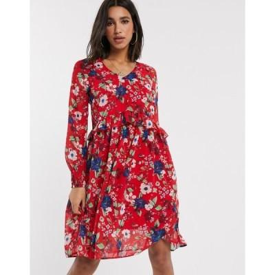 ヴェロモーダ レディース ワンピース トップス Vero Moda drop waist floral smock dress Chinese red