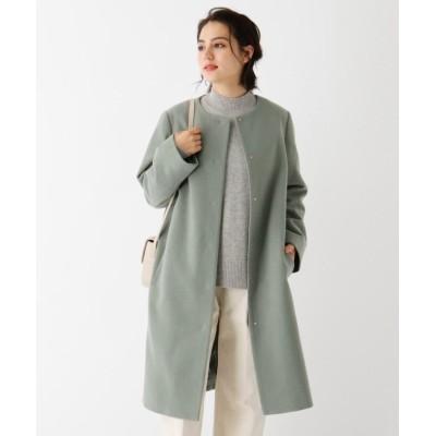 (OPAQUE.CLIP/オペーク ドット クリップ)Lux-Veil wool mix ノーカラーロングコート/レディース オリーブグリーン(026)