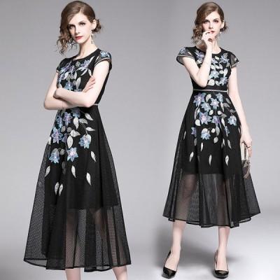 ドレス 結婚式 お呼ばれ 40代30代 袖あり フォーマル ドレス パーティードレス 膝丈 花柄刺繍 披露宴 ドレスワンピース 袖あり