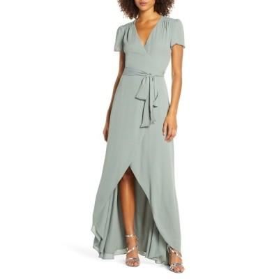 ワイフ レディース ワンピース トップス The Zoey Short Sleeve Wrap Gown MOSS