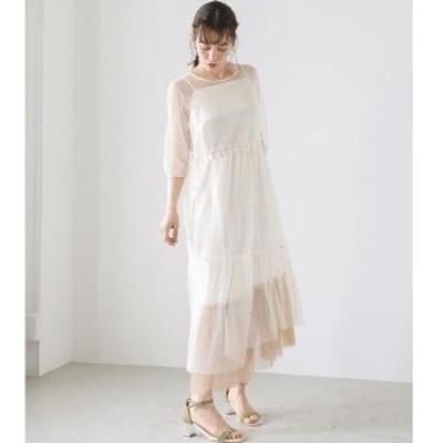 【NEW】アヴァンリリィ(AVAN LILY)/ドットチュールロングドレス