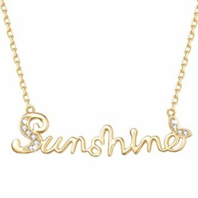 FANCIME Valentines Day Gifts 14K Real Solid Yellow Gold 0.035ct Natural Diamonds You Are My Sunshine Pendant Necklace Positive I