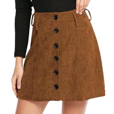 スカート レディース  Aライン ミニスカート ボタン ハイウェスト 無地 美脚 シンプル ゆったり 体型カバー 着痩せ おしゃれ