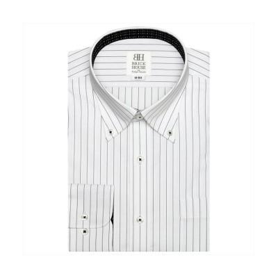 (TOKYO SHIRTS/トーキョーシャツ)ワイシャツ 長袖 形態安定 ボタンダウン 再生ポリエステル スリム メンズ/メンズ クロ・グレー