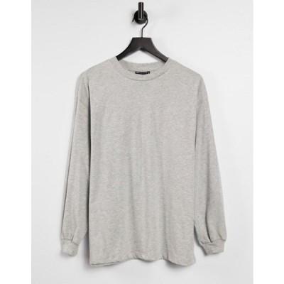 エイソス レディース シャツ トップス ASOS DESIGN oversized long sleeve T-shirt with cuff detail in gray heather