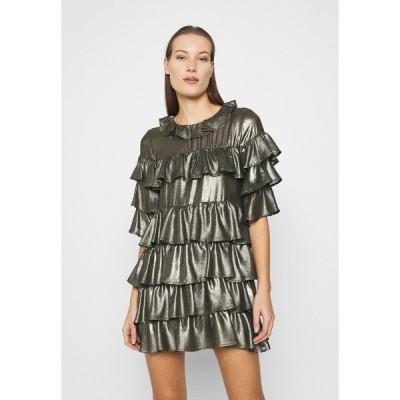 フー ワット ウェア ワンピース レディース トップス RUFFLE MINI DRESS - Cocktail dress / Party dress - bronze