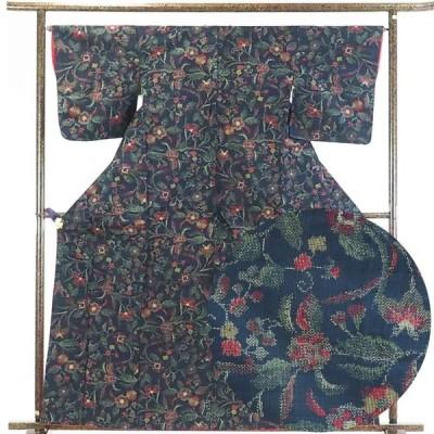 リサイクル着物 紬 正絹紺地先染袷真綿紬着物