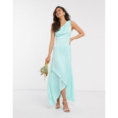 ティエフエヌシー レディース ワンピース トップス TFNC Bridesmaid one shoulder maxi dress in mint
