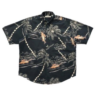 総柄 ボタンダウンシャツ アロハシャツ ブラックベース サイズ表記:L