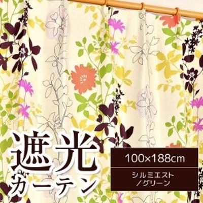 遮光カーテン 2枚組 100×188 グリーン 花柄 ボタニカル柄 洗える アジャスターフック付き タッセル付き シルエミスト