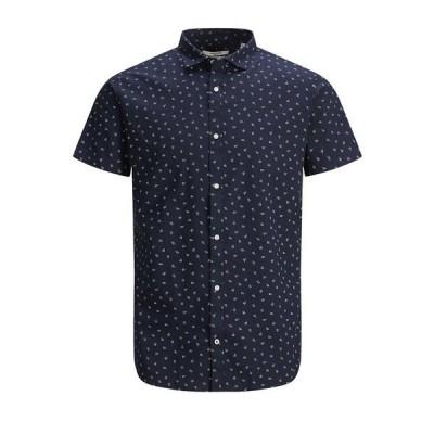 ジャック アンド ジョーンズ シャツ トップス メンズ Men's Blackpool Short Sleeve Shirt Navy Blazer