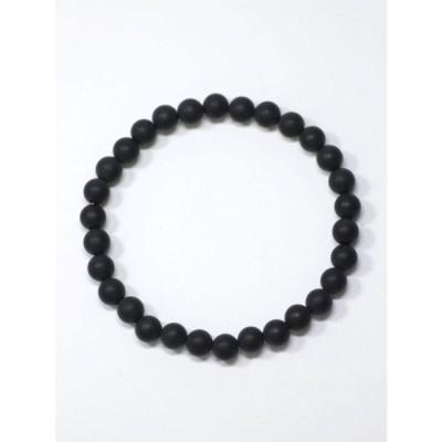 【岩座】フロスティブラックオニキス6mm玉天然石ブレスレット ブラック