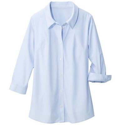 【ぽっちゃりさんサイズ】カットソーシャツ(7分袖)(UVカット・抗菌防臭・吸汗速乾) グラマーさん用サイズ有(胸のサイズで選べる)/サックス/6L