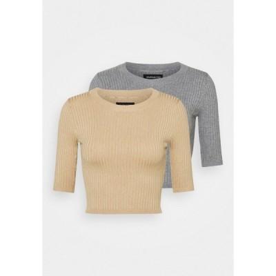 エブンアンドオッド Tシャツ レディース トップス 2 PACK - Print T-shirt - mottled grey/sand