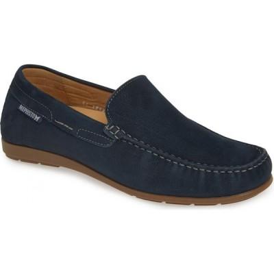 メフィスト MEPHISTO メンズ スリッポン・フラット シューズ・靴 'Algoras' Slip-On Navy Suede