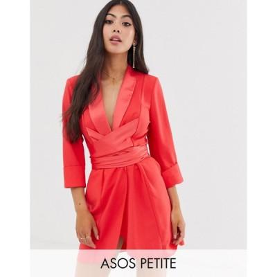 エイソス ミディドレス レディース ASOS DESIGN Petite mini tux dress with self belt エイソス ASOS レッド 赤