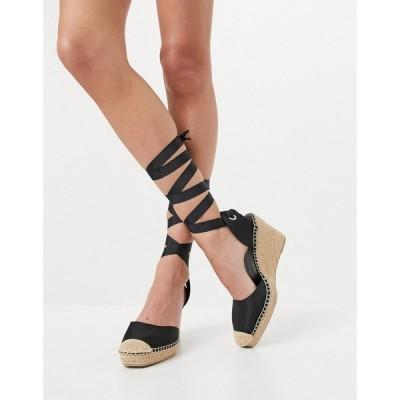 エイソス ASOS DESIGN レディース エスパドリーユ ウェッジソール シューズ・靴 Asos Design Tori Tie Leg Espadrille Wedges In Black ブラック