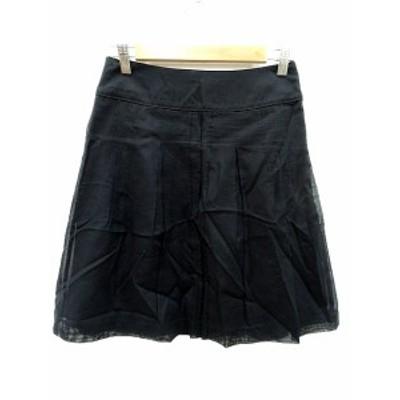 【中古】アプワイザーリッシェ Apuweiser-riche プリーツスカート ひざ丈 1 黒 ブラック /MS レディース