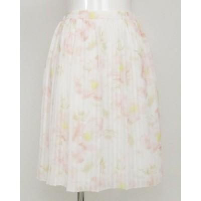 ウィルセレクション 白ピンク系花柄プリントスカート M