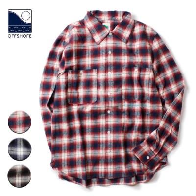シャツ 長袖 メンズ ブランド チェックシャツ ネルシャツ フランネル ロゴ おしゃれ サーフ アメカジ サーフブランド OFFSHORE オフショア