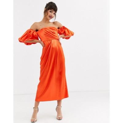 エイソス ミディドレス レディース ASOS EDITION drape off shoulder midi dress in satin エイソス ASOS オレンジ