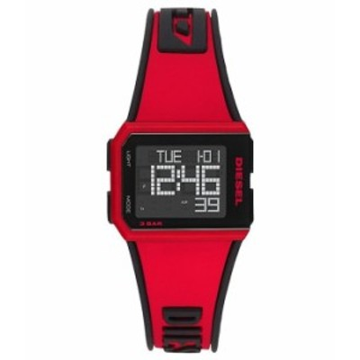 ディーゼル メンズ 腕時計 アクセサリー Chopped Digital Red Silicone Watch Red