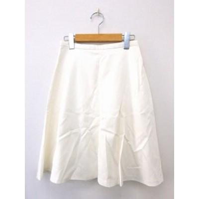 【中古】ジルスチュアート JILL STUART スカート ボトムス フレア ジップ 膝丈 コットン 綿 2 ホワイト 白 /UT33 レディース