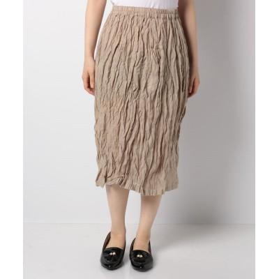 【マリンフランセーズ】 Linen Stripe ギャザー スカート レディース ベージュ 1 LA MARINE FRANCAISE