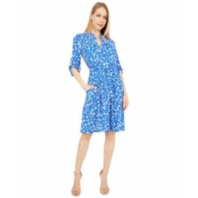 カルバンクライン レディース ワンピース トップス Belted Floral Print Collar Dress Klein Blue Mult