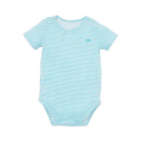 麗嬰房 嬰童冰牛奶條紋短袖包屁衣-土耳其藍色 (6M/12M/18M/24M)
