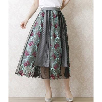 スカート チュール刺繍フレアスカート