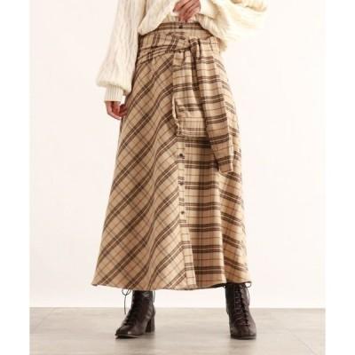 スカート [洗える]ウエストリボンチェック柄スカート