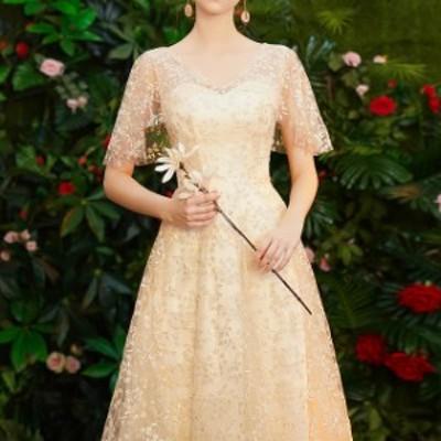 ドレス ワンピース パーティードレス 結婚式 大きいサイズ ミモレ 総レース ドレス 膝丈 半袖 シースルー Aライン チュール