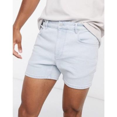エイソス ASOS DESIGN メンズ ショートパンツ デニム stretch slim denim shorts in vintage light wash in shorter length ライトウォッシュヴィンテージ