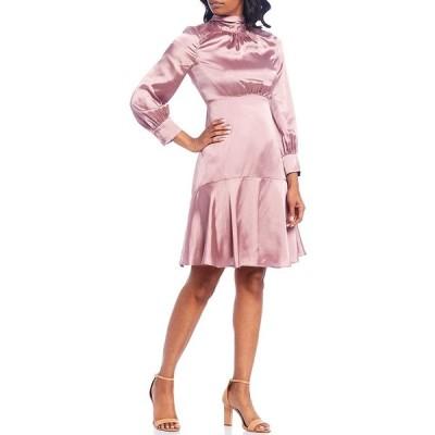 エリザジェイ レディース ワンピース トップス Long Sleeve Back Tie Ruffle Hem Satin Dress Pink