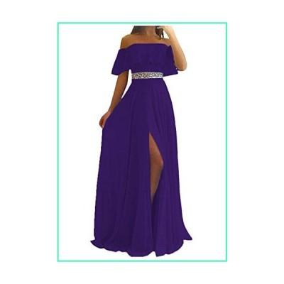 Off Shoulder Bridesmaid Dresses Beach Wedding Split Long Chiffon Ruffles for Women Purple並行輸入品