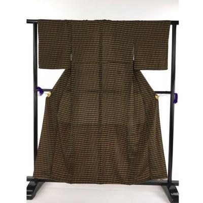 着物 美品 優品 小紋 黒 多色 幾何学 正絹 袷(10月〜5月) 159cm Mサイズ  リサイクル バイセル PK70