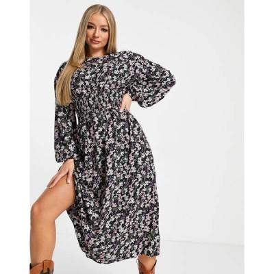 ミスガイデッド レディース ワンピース トップス Missguided midi dress with shirred waist in black floral Black
