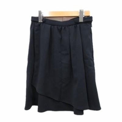 【中古】ヨーロ YOLO スカート タック ひざ丈 ハーフ丈 38 濃紺/3■4 レディース
