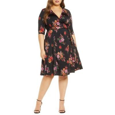キヨナ ワンピース トップス レディース Essential Wrap Dress Black Floral Print