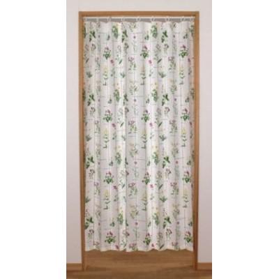間仕切りカーテン:形状記憶アコーディオン のれん ハーブ140X178 グリーン || ファブリック 敷物